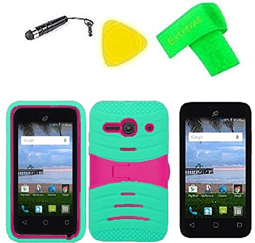 timeless design bf2e9 afa19 Hybrid w Kickstand Cover Case Phone + Extreme Band + Stylus Pen + Screen  Protector + Pry Tool For Straight Talk Tracfone NET10 Alcatel Prepaid ...