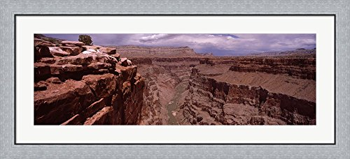 River Passing Through, North Rim, Grand Canyon National Park, Arizona, USA by Panoramic Images Framed Art Print Wall Picture, Flat Silver Frame, 44 x 20 inches Silver Rim Picture Frame