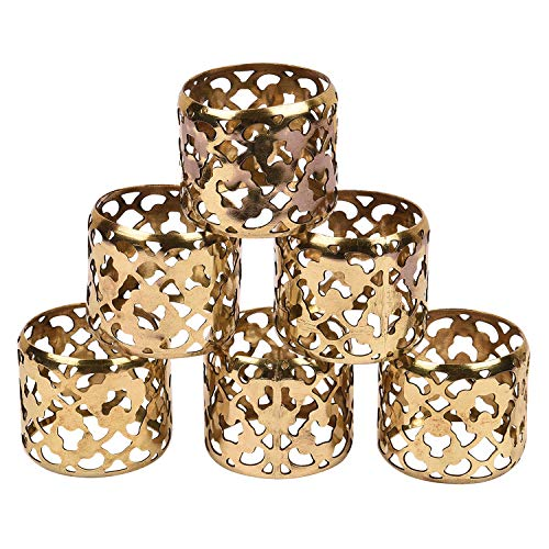 GAURI KOHLI Fine Grade Brass Napkin Rings with Elegant Latticework in Gold Antique Finish (Set of ()