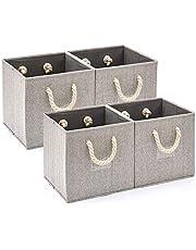 EZOWare składane pudełko do przechowywania, kosz do przechowywania z mocnymi bawełniana lina uchwytami (30,5 x 30,5 x 30,5 cm) – szary / zestaw 4 szt.
