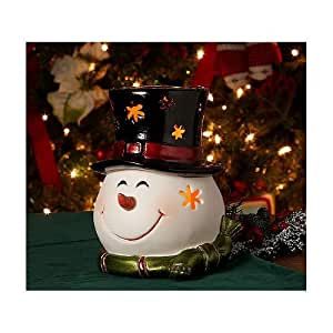 HomeReflections Porcelain Holiday Character Luminary w/Timer (Snowman) - H168440