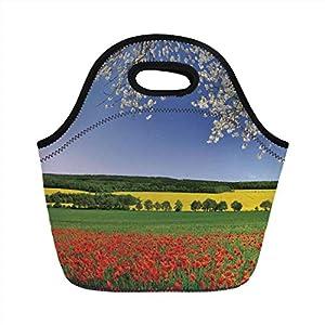 Pranzo al sacco portatile, floreale, campo di papaveri con paesaggio primaverile e vista ad albero in fiore in immagine… 18 spesavip
