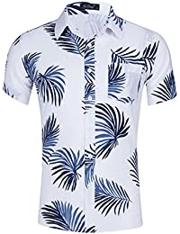 Men's Tropical Short Sleeve Floral Print Beach Aloha Hawaiian Shirt