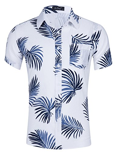 XI PENG Men's Tropical Short Sleeve Floral Print Beach Aloha Hawaiian Shirt (White Blue Palm Leaves, Large) - Tropical Floral Palm Tree