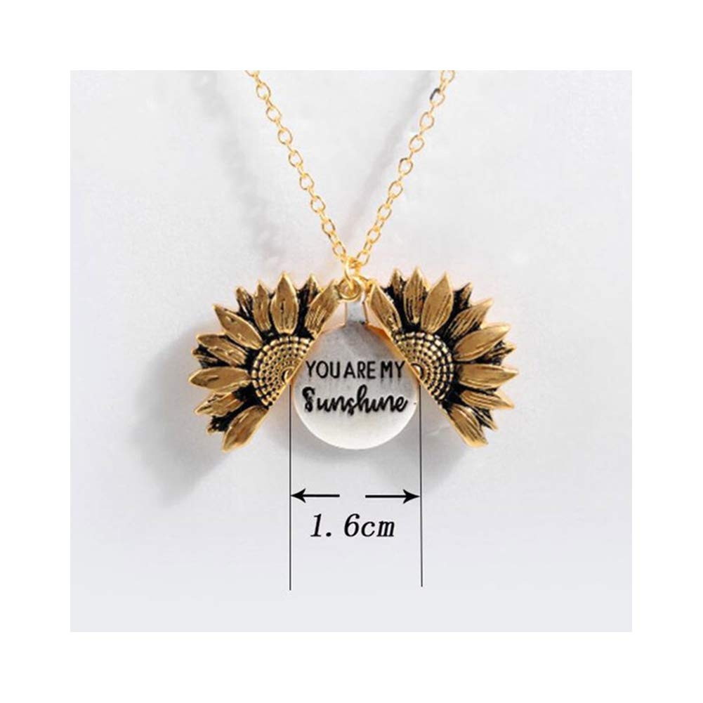 SoBw Sunflower Necklace You are My Sunshine Engraved Locket Necklace for Women Thanksgiving Gift