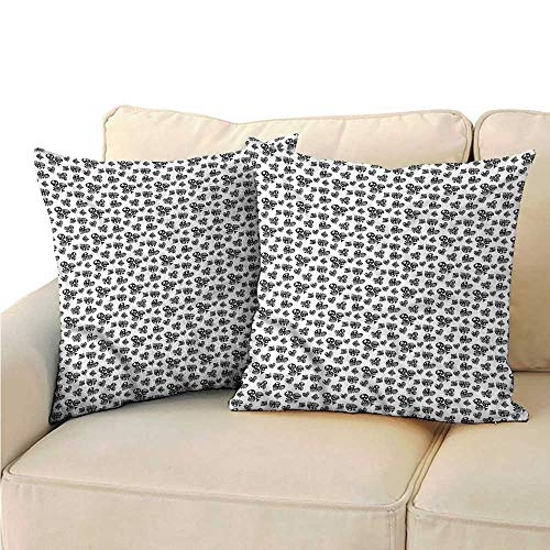 (RuppertTextile Poker Personalized Pillowcase Monochrome Ornamented Signs Anti-Fading W17 x L17)