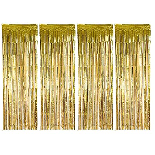 BTSD-home Gold Foil Fringe Curtain, Metallic Photo Booth Tinsel Backdrop Door Curtains for Wedding Birthday and Special Festival Decoration(4 Pack, 12ft x 8ft)