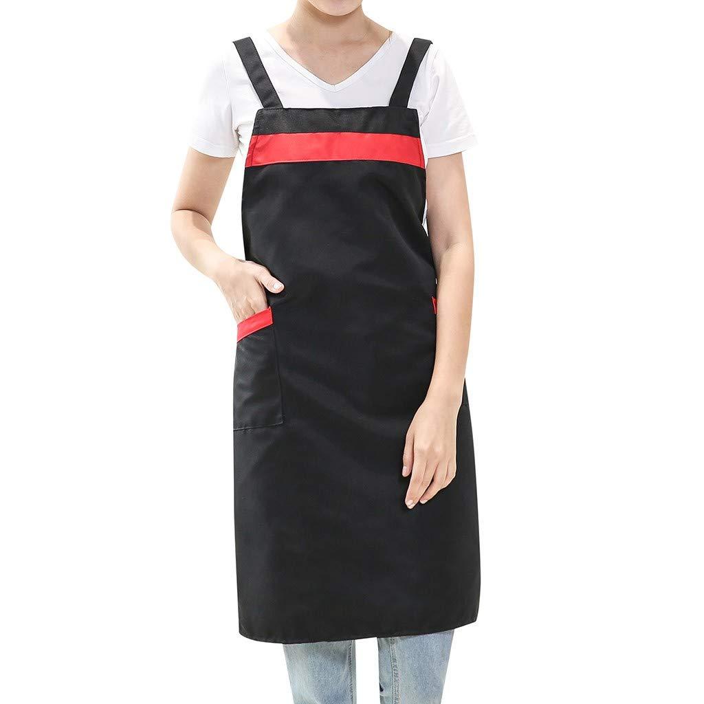 Keliay Dress for Women Summer,Women Casual Solid Cooking Chef Kitchen Restaurant Bib Apron Dress Pocket Apron Black