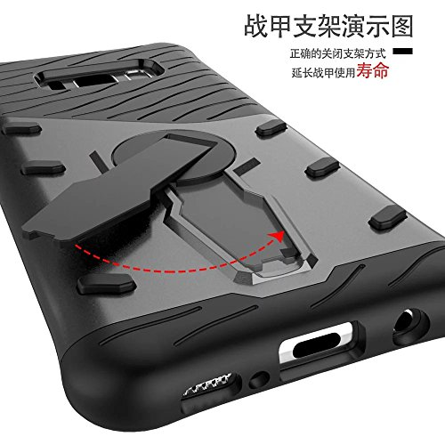 SRY 2 en 1 caja extraíble del teléfono con la cubierta de la caja del Kickstand del ajuste de 360 grados para Samsung Galaxy S8 ( Color : Gold ) Black