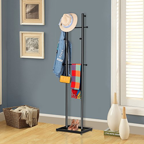LANGRIA Garment Rack Coat Tree Metal Coat Racks Display Stand Hall Tree with 8 Hooks for Clothes Scarves and Hats, Black Finish - Hall Tree Style Coat Hat