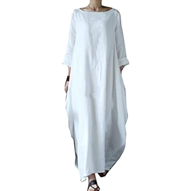 3eee862ba34 Juleya Femmes Boho Robe Longue 3 4 Manche Col Rond Décontractée En vrac Robe  Rétro