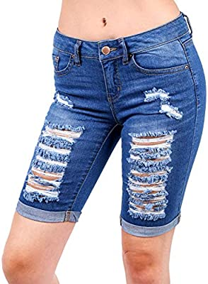 Wax Womens Bermuda Whiskers Pants Jeans for Women Jean Shorts Distressed Jeans