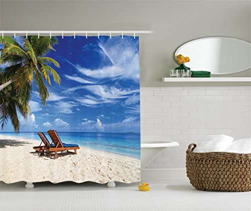 Ambesonne Seaside Decor Collection, Two Beach Chairs on the Tropical Sand Beach under Palm Trees Picture Print, Polyester Fabric Bathroom Shower Curtain, 75 Inches Long, Blue Green Ivory (Sand Beach Collection)