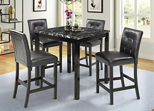 5 Piece Dining Table Set with Laminated Faux Marble Top and 4 Chairs, 5 Piece Counter Height Dining Table Set for 4, Wooden Kitchen Table and Chairs Ship from USA Warehouse, Arrive in 5 Days (Black)