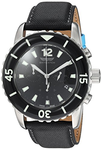 Skywatch Men's Stainless Steel Swiss-Quartz Diving Watch with Canvas Strap, Black, 24 (Model: CCI029-A