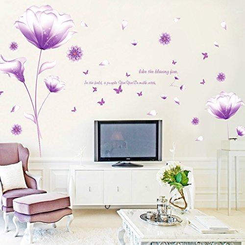 Fantaisie Violet Fleurs Sticker mural amovible Maison en papier peint de Salon Chambre Cuisine Art Images murales dé coration de porte de fenê tre en PVC + Cadeau Grenouille 3D autocollant pour voiture fashionbeautybuy
