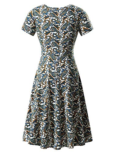 Women Flower18 Summer Round Neck Sleeve Flared Casual HUHOT Dress Midi Short dqxfPXwv