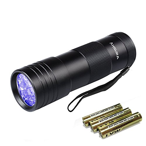 Black Light UV Flashlight,Vansky Blacklight 12 LED Urine Detector For Dog/Cat/Pet Urine & Dry Stains and Bed Bug On…