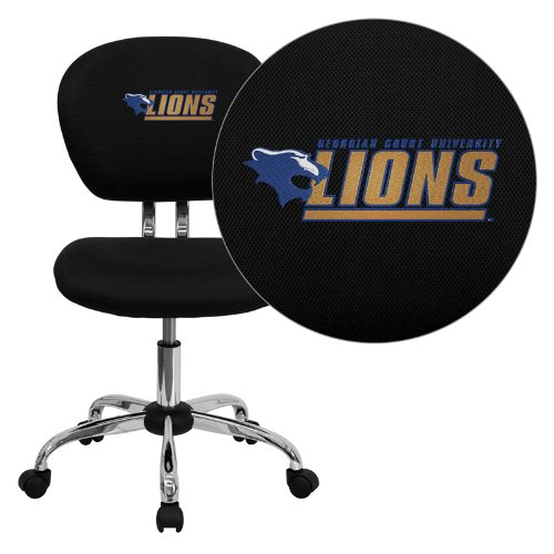 Flash Furniture Georgian Court University Lions Embroidered Black Mesh Task Chair with Chrome Base ()