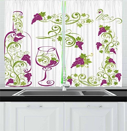 wine theme kitchen curtains - 2