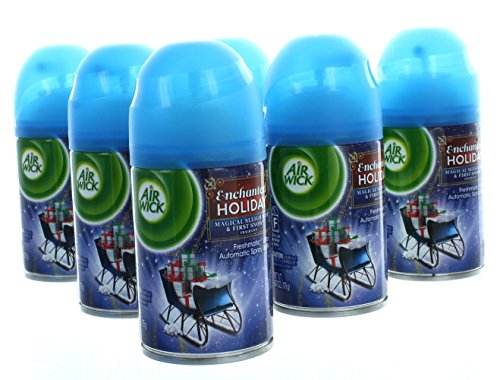 6 Cans Air Wick Freshmatic Refill Enchanted Holiday Magical Sleigh First Snow