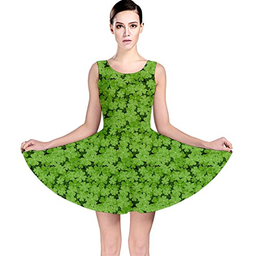 Motif Vert Trèfle Feuilles Robe Patineuse