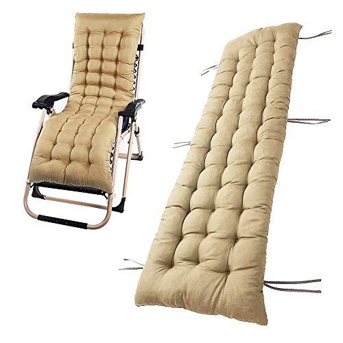 Chaise Lounge Cushion Sun Lounger Replacement 60 Inch Indoor Outdoor Patio Garden Deckchair Recliner Relaxer Pad Cushion (1PCS, Khaki)