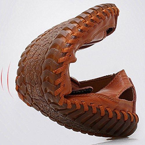hueco de dedo al del cerrado los cuero aire hombres libre Sandalias de verano marrón Sandalias playa zapatos de informal transpirable de de trekking pie Zapatos U0qdnPUwz8
