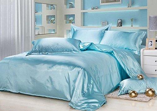 Meena Shree Textile 100% Pure Silk Satin Sheet Set 4pcs, Silk Fitted Sheet 15'' Deep Pocket,Silk Flat Sheet & Pillowcases Set !!! King, Sky Blue