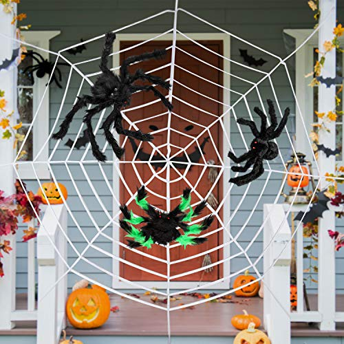 Giant Halloween Scary Yard Outdoor Decorations, 1 Piece 11.8 Feet White Spider Web and 3 Piece Fake Large Spider Hairy Props Christmas