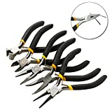 5pcs Mini Pliers Tools Set Jewellery Making Beading Kit Wire Cutter Round Bent Flat Nos