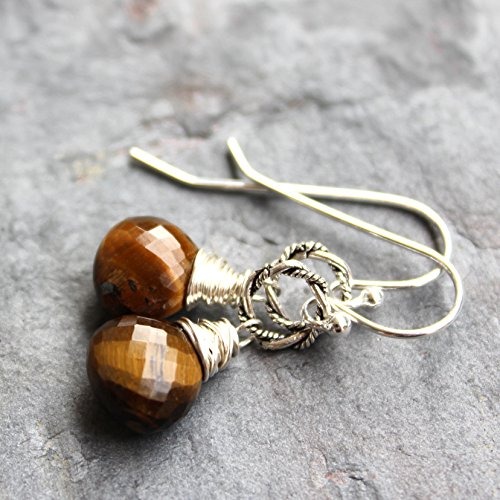 Silver Tone Tigers Eye - Tigers Eye Earrings Sterling Silver Twisted Rings Wire Wrapped Simple Drops