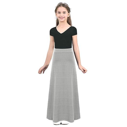 TiaoBug Falda Larga para Niñas Adolescentes Vestido Falda Recto de ...
