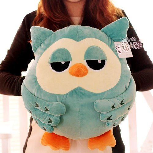 The Heirs Owl Plush Warm Hold Pillow Cushion (BLUE)