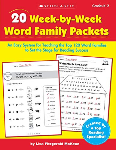 20 Week-by-Week Word Family Packets: An Easy System for Teaching the Top 120 Word Families to Set the Stage for Reading Success (Teaching Resources) -