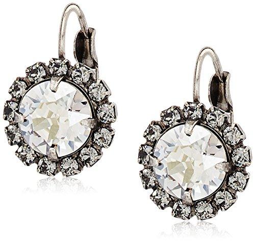 (Sorrelli Core Antique Silver Tone Crystal Rock Haute Halo French Wire Drop Earrings)