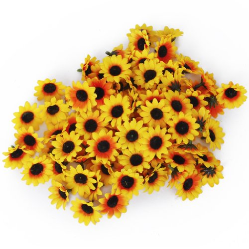 1-X-Generic-100x-Artificial-Gerbera-Daisy-Flowers-Heads-for-DIY-Wedding-Party-Yellow-Sunflower