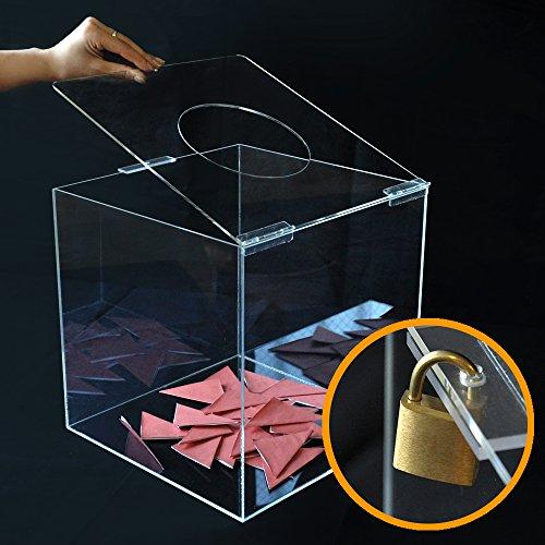 【 抽選箱 大 】 フタ式アクリル抽選箱クリア L /鍵付/W30cm/D31.5cm/H30.6cm