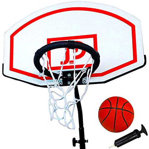 JUMP POWER Metal Trampoline Basketball Hoop – Sturdy Basketball Hoop for Trampoline – Trampoline Basketball Hoop Attachment Includes Inflatable Ball, Powdered Rim, Easy Installation – DiZiSports Store