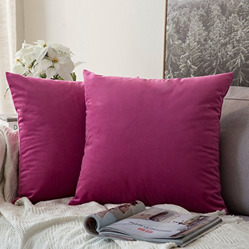 MIULEE Pack of 2, Velvet Soft Soild Decorative Square Throw Pillow Covers Set Cushion Case for Sofa Bedroom Car 20 x 20 Inch 50 x 50 cm (Throw Magenta Pillows)