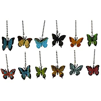 Assorted styles mini BUTTERFLY ceiling FAN PULL light chain small butterflies - SET of TWO