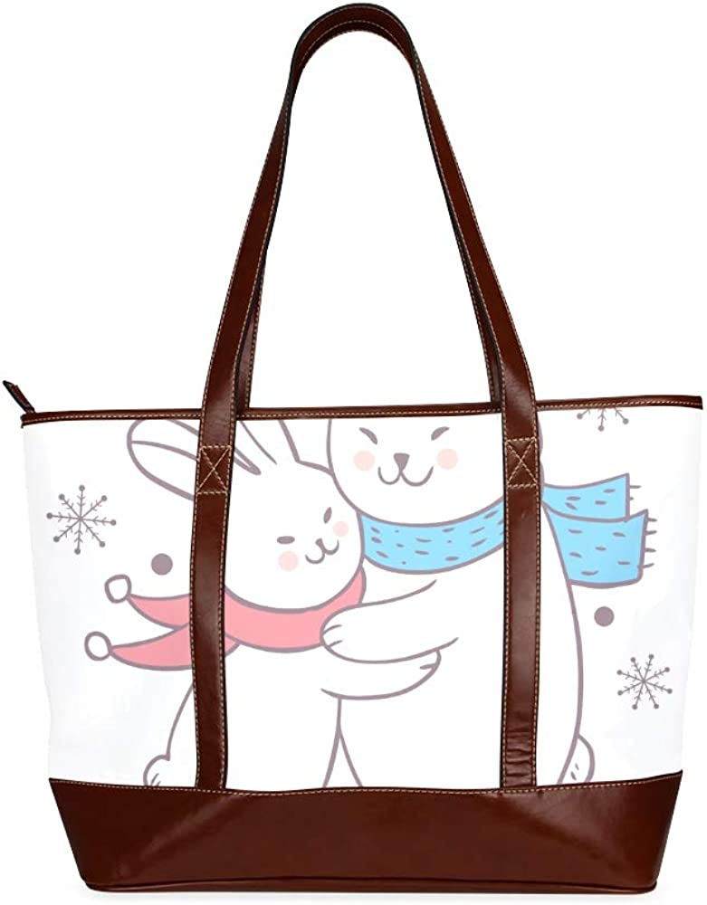 Tote Bags Cartoon Cute Winter Rabbit Hug Polar Travel Totes Bag Fashion Handbags Shopping Zippered Tote For Women Waterproof Handbag