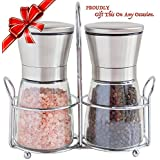 Salt and Pepper Grinder Set Stainless Steel Glass Mill with Matching Stand - Top Spice Ceramic Grinder - Adjustable From Fine to Coarse,set of 2