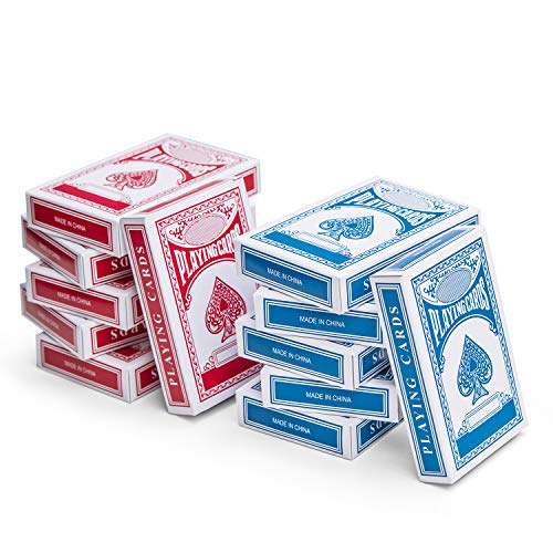 - Kicko 12-Decks Playing Cards - Blue and Red Printed Box Individual Packing for Party Favors,, Boys, Girls and Adults Texas, Blackjack and More