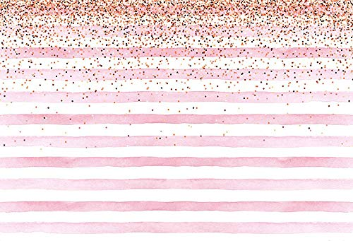(MEHOFOTO 8x6ft Photography Backdrops Banner Pink Stripe Gold Sequins Baby Girl Birthday Party Decoration Baby Shower Photo Studio Booth Background)
