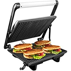 Aicok Panini Press Grill 4-Serving, Gourmet Sandwich Maker with Nonstick Plates, Cafe-Style Floating Lid, Removable Drip Tray, 1200W, Silver