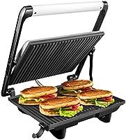 Aicok Sandwichera Grill 4-Serving, Panini Grill 2000W, Parrilla Eléctrica con Placas Antiadherentes, Bandeja de Goteo Extraíble, Tapa Flotante y Asa de Toque Frío, Plata
