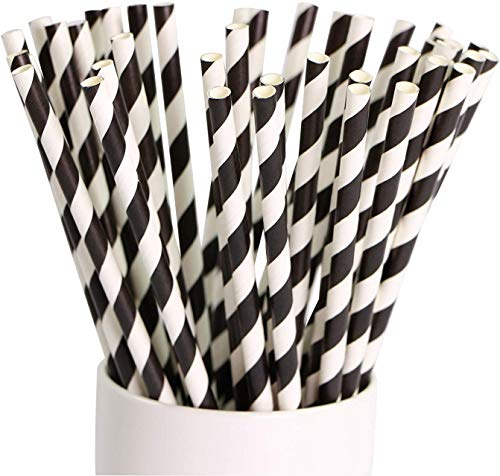 WhopperIndia 100 Pcs Biodegradable Paper Straws Stripe Paper Drinking Straws Bulk Paper Straws for Juices, Shakes…