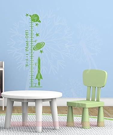 10.5x39-Inch Lime Green Wall Decor Plus More WDPM4180 Blast Off Rocket Growth Chart Vinyl Decals Boys Wall Decor Sticker Art
