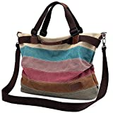 Women's Canvas Handbag, Unives Ladies Vintage Tote Hobo Shoulder Bag Shopping Bags Top-handle Satchel Multi-colored,Large Size(17.5x13.5x7Inch)